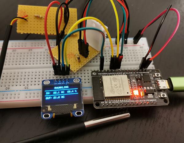 SmartRV: Erster Versuchsaufbau mit ESP32, DHT22, DS18B20 und OLED-Display