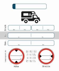 Wohnmobil Kastenwagen Reifen Drukc Höhe Breite PDF ausdrucken